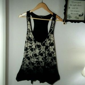 Tops - Black and Cream tank top By Simply/Med